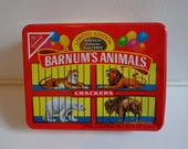 Collectible Nabisco Barnum's Animal Crackers Storage Tin Box Souvenir, Vintage Advertising, 80s Retro Nostalgia Foodie Gift