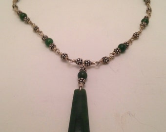 Sterling Silver Nekclace with Jade Pendant