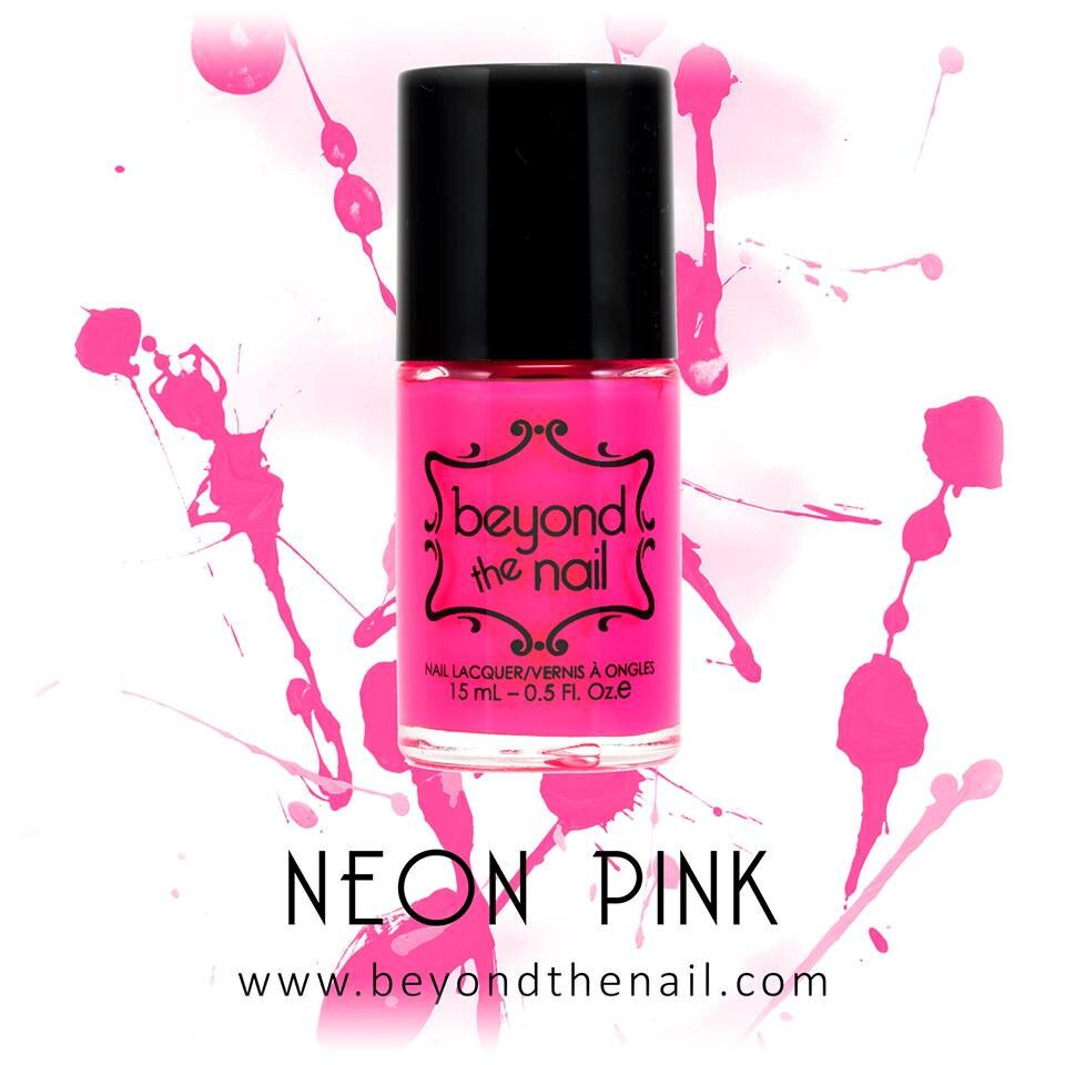 Neon Pink Nail Polish UV Reactive