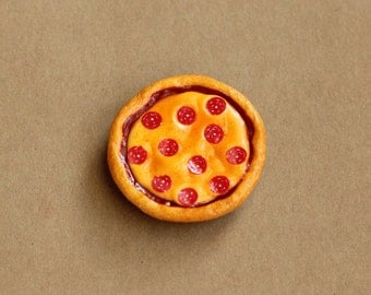 Miniature Pizza Magnet, Polymer Clay Pizza, Food Magnet