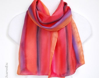 Pink orange silk scarf, Hand dyed multicolor silk scarf, Handpainted scarf, Orange pink purple stripes scarf, Art silk gift for her