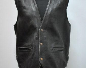 Vintage BIKER LEATHER VEST , men's leather vest ....(003)