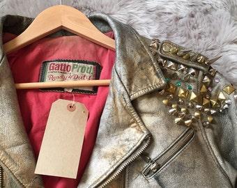 Handpainted Vintage Leather jacket
