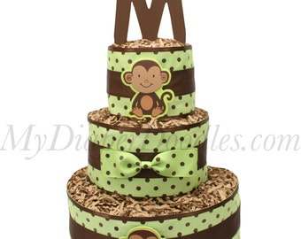 3 Tier Monkey Diaper Cake (You choose the monogram letter for the topper!)