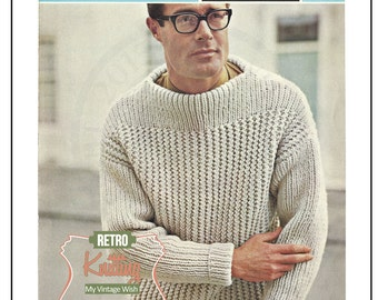 1950/60s Man's Sweater Knitting Pattern - Hipster – PDF Instant Download