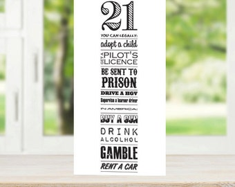 21st Birthday Card 'Now You're 21' Typography
