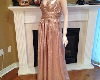 Champagne sequin bridesmaid dress, Prom dress 2016 - Low V sequin dress