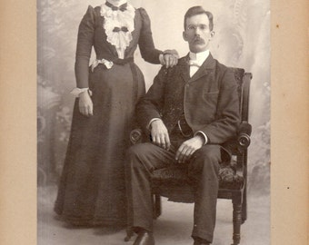Antique Photo of Serious Young Couple