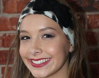 Leopard Print Fleece Ear Warmer with Black Bow, Leopard Head Wrap