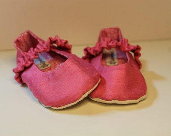 Pink Silk Baby Mary Jane Dress Shoes, Baby Mary Jane Slipper Booties
