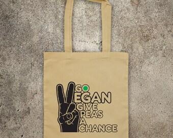 GO VEGAN give peas a chance. tote shopper bag vegan veggie animal rights alf protest shopping vegetarian funny