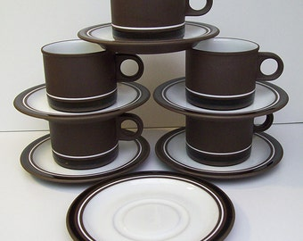 Vintage 1978-1987 HORNSEA Pottery - CONTRAST Pattern – Five Cups and Six Saucers - Stoneware – Made in England – Minimalist – Modern -