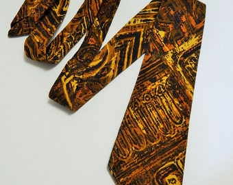 """54"""" Woven Thick Cotton Linen Brown Yellow 1970's Style Mens Necktie Neck Tie"""
