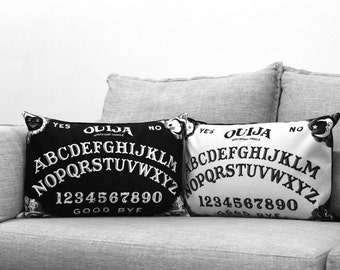 "ouija board - set of 2 - 14"" by 20"" velveteen pillow cases - black and white edition"