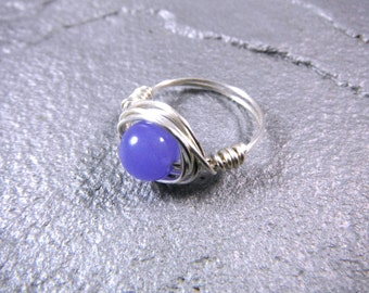 Purple Jade Ring, Wire Wrapped Ring, Purple Ring, Wire Wrapped Ring, Wire Wrapped Jewelry Handmade, Silver Ring, Jade Jewelry