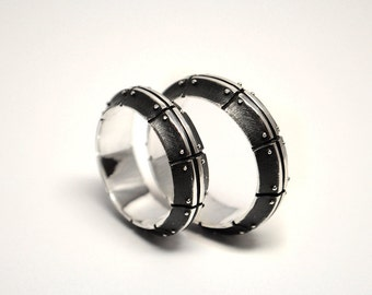 alternative wedding silver rings aeternium industrial wedding rings steampunk wedding rings - Steampunk Wedding Rings