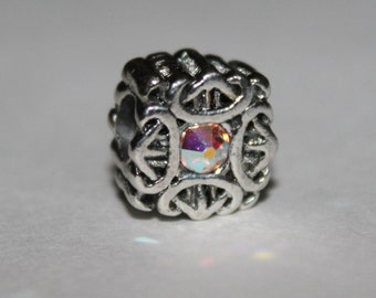 European Style Bead, Large Hole Square Bead with Crystal Center, Add a Bead
