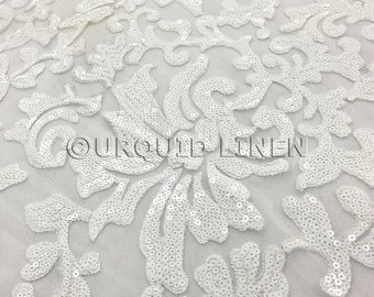 White Milan Lace is embroidered sequin fabric - Wedding and decorative fabric.