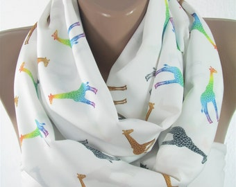 Giraffe Scarf Animal Infinity Scarf Gift For Her For Women Wife Birthday Gift for Friend Spring Summer Fall Accessories Girlfriend Gift