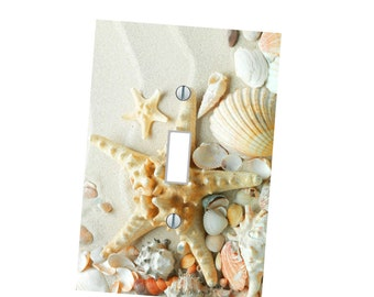 nautical - Light Switch Plate Cover - Whimsical - beach - Sea Shell - Home Decor - outlet cover - sand ocean star fish  Shells nautical Bath