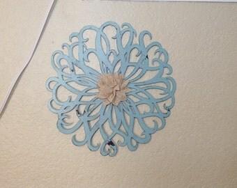 Wrought Iron Wall Décor, Aqua/ Robins Egg Blue with Burlap Center Flower