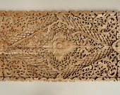 Natural Hand Carved Wood Bed Headboard. Balinese Lotus Wall Paneling. Teak Carving Wall Art Panel.  (120X70 Cm. Extra Thick. Natural)