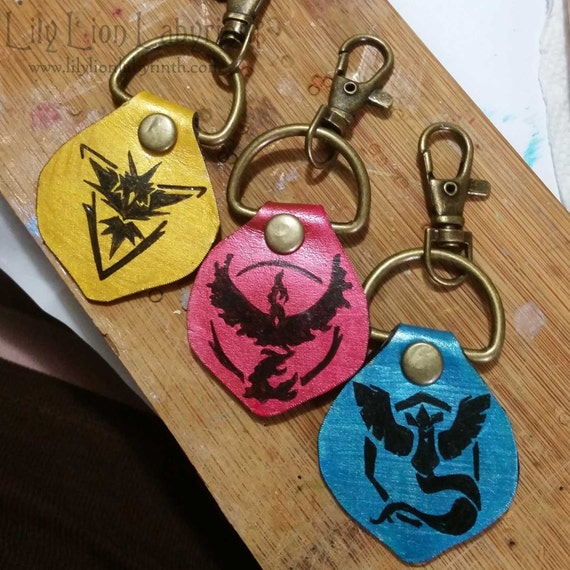 Pokemon Go Team Handmade Leather Keychains