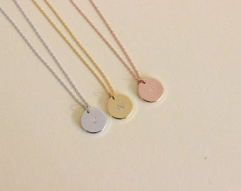 Personalized initial disk necklace initial coin necklace initial necklace letter necklace bridesmaid gift silver gold rose gold dainty initial disk aloadofball Gallery