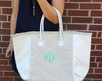 Monogrammed Preppy White and Linen Ruffle Tote Bag   Multiple Colors