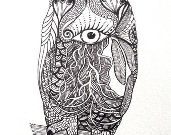 OWL Digital  Print***printed from my original drawing