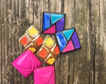 Collection of 80's Abstract Earrings