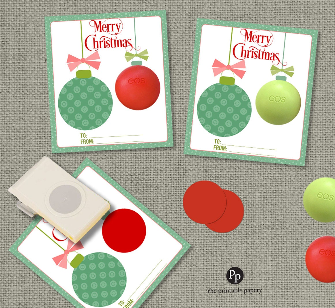 Holiday Christmas Cards / Gift Tags For EOS Lip Balm Gifts