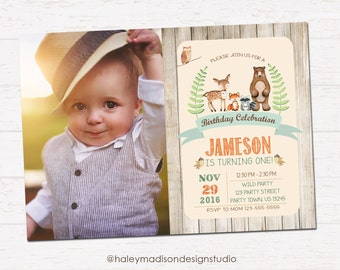 Woodland birthday invitation, Forest Friends, Rustick Style invitation DIGITAL FILE