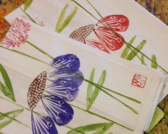 Dish Towel, Hand Printed by Molly Thompson: Castine Bloom