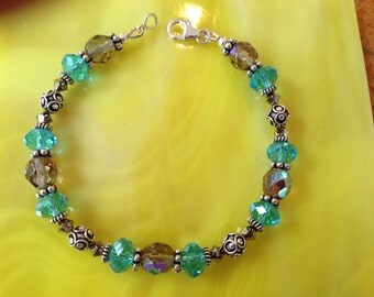 Turquoise Crystal and Sterling Silver Bracelet (B6)
