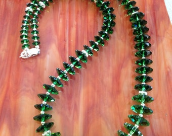 Green Swarovski Crystal, Sterling Silver Necklace (N16)