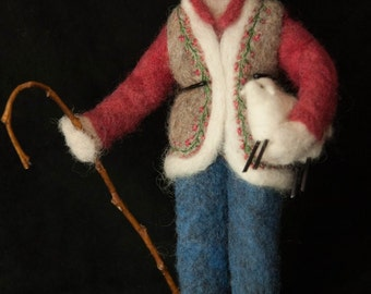 The Shepherdess is an original needle felted art doll