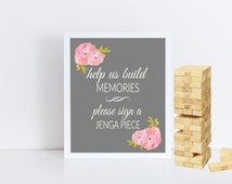 Guest Book Sign - Help Us Build Memories Jenga Wedding Sign - Shower Well Wishes -8x10 printable