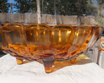 Beautiful, Large Amber Glass Footed Fruit Bowl - Indiana Glass Colony Harvest