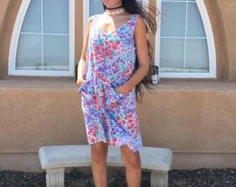 90s Vintage/ Bright/ Floral/ Dress
