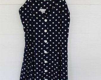 90's Navy/Cream Polka Dot Sun Dress Size-S