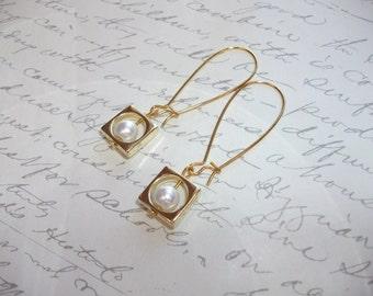 Geometric white pearl square frame gold earrings