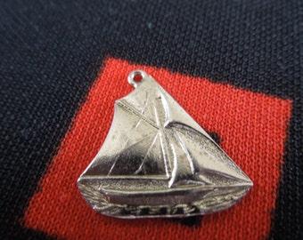 Sterling Sailboat Charm Vintage Larger Sterling Silver Sailboat Charm for Bracelet from Charmhuntress 02936