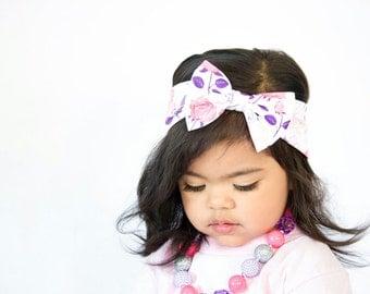 Floral baby headband - Girls Headband - Turban Bow Headband - Bow Headband - Roses headband - Newborn Bow - Photo prop - Headband for baby