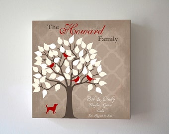 Family Tree Canvas, Birds on Tree Anniversary Gift Ideas Personalized Family Tree Love Birds Gift Canvas Wall Art -Brown