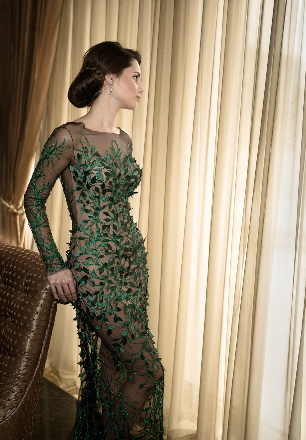 green formal gown long cocktail dress mother of the bride