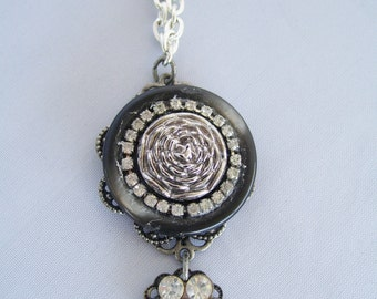 Black and Silver Vintage Button Necklace with Rhinestone Accents and Silver Flower Button