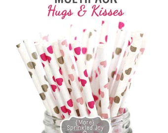 HUGS & KISSES Heart Multipack, Chevron, 25 Straws, Pink, Light Pink, Gold, Valentines