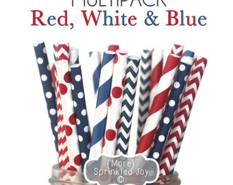 RED, WHITE & BLUE Paper Straws, Multipack, Chevron, Dots, Vintage, 25 Straws, Navy, Red, Memorial Day, Independence Day, Partiotic