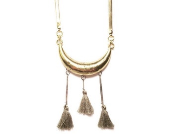 SALE-Triple Goddess Necklace with Sage Tassels and Vintage Herringbone Chain